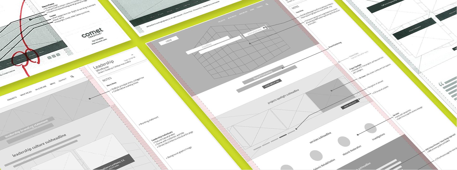 KNA website wireframes